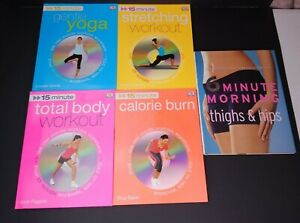 Lot of 5 DK 15 Minute Workout Books W/ DVDs Execeise Fitness
