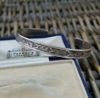 Designer ED LEVIN Vintage Sterling Silver Bracelet Bangle, Grapevine, Small Fit