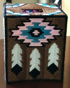 South West (LIGH Brown) Handmade Plastic Canvas Tissue Box Cover (NOT A PATTERN)