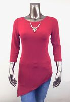 CHICO'S TRAVELERS *NEW SIZE 1. (M) RED 3/4 SLEEVES ASYMMETRICAL TUNIC TOP