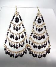 STUNNING Black Onyx Crystal Beads Gold Chandelier Dangle Peruvian Earrings 8BK