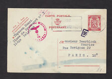 Belgium WWII Chemical Censor Postal Card Postcard to France