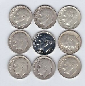 NINE USA SILVER DIMES 19146 TO 1964 IN A FINE TO GOOD VERY FINE CONDITION