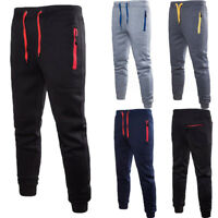 Men Sport Pants Long Trousers Zip Pocket Soft Workout Joggers Gym Sweatpants.