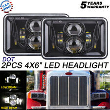 "Pair DOT Approved 4x6"" Cree LED Headlight to Peterbilt Kenworth Freightliner"