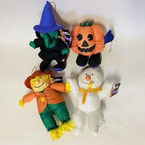 "Halloween Puffalump Style Plush Nylon Witch Ghost Pumpkin Scarecrow 7"" Vintage"