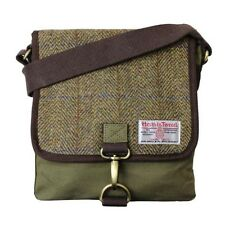 Traditional Green Harris Tweed Messenger Bag