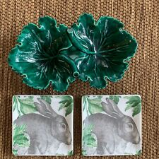 Vintage Holland Mold Green Cabbage Dish With 2 Artistic Accents Rabbit Plates