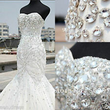 2017 New Luxury Crystals Beading Mermaid White/Ivory Bridal Gown Wedding Dresses