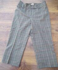 ANN TAYLOR curvy Petite Donna Tre quarti Check Pantaloni taglia 4P W30 UK10