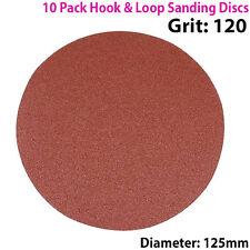 Qty 10 - 125mm 5 Pulgadas los discos de lijar 120 Grit-Lijadora De Órbita-Hook & Loo