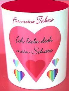 """Kaffeetasse für Verliebte """"ich liebe dich mein Schatz!"""" mit Namen"""