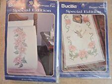 """VTG (2) Bucilla Stamped Kits """"Clematis"""" (1) Pillowcase Pair (1) Dresser Scarf"""