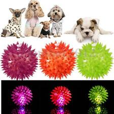 New Dog Puppy Cat Pet Hedgehog LED Ball Rubber Bell Sound Ball Fun Playing Toy