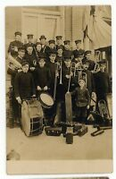 RPPC Large Drum Horns Band ORLEANS IN Orange County Indiana Real Photo Postcard
