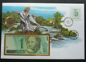 [SJ] Brazil 1994 Bird Freedom Woman FDC (banknote coin cover) *rare 3 in 1 cover