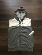 New Mens Large Boxercraft Hooded Vest Full Zip Athletic Gray White Sport Workout
