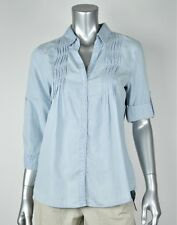 Vintage America New White Striped 3/4 Sleeves Button Front Shirt MSRP $69 S