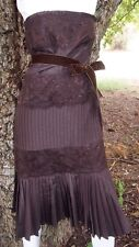 Chocolate Brown Sleeveless Banana Republic XS Pleated Lace Womens Flapper Dress