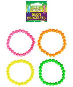 4 Neon Bead Bracelets - 80s Fancy Dress Costume Accessory Rave Punk Gay Pride