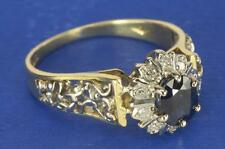 A VINTAGE 18ct GOLD NATURAL DIAMOND & BLUE SAPPHIRE CLUSTER RING SIZE Q (8.5)