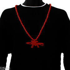 Mens Red AK47 Gun Pendant Wood Hip Hop Ball Beaded 36 Inch Chain Necklace