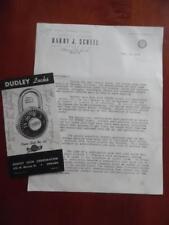 1944 Dudley Combination Padlock Lock Catalog Brochure + Letter Chicago Vintage