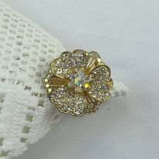 VINTAGE tarnished gold tone flower chunky ring w/faux crystals adjustable