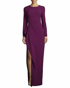 NWT Black Halo EVE Albright in Jezebel Purple Side Slit Ruffle Gown Dress 6