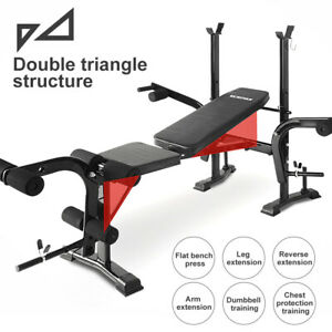 Adjustable Sit Up Weight Bench Barbell Dip Station Lifting Chest Press Home Gym