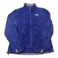 The North Face Womens Medium Twill Blue Gray Osito Jacket Fuzzy Full Zip Fleece
