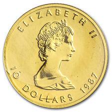 1987 Canada 1/4 oz Gold Maple Leaf BU - SKU #82826