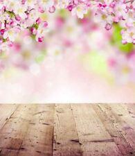 PINK CHERRY FLOWER BOKEH WOOD FLOOR BACKDROP VINYL PHOTO PROP 5X7FT 150x220CM