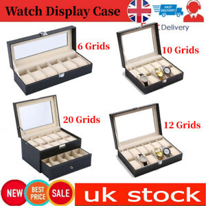Mens 6 10 12 24 Grids Leather Watch Display Case Collection Storage Holder Box
