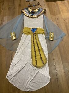 Cleopatra Costume Egyptian Princess Queen Fancy Dress Adult Ladies Costume + Wig