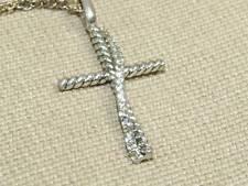 Vintage Sterling Silver CZ Stones Cross Pendant Necklace