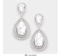 Wedding Long Rhinestone Bridal Earrings 2.25� Clear Crystal Pageant White Silver