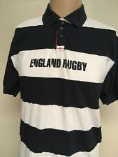 ENGLAND RUGBY RFU STRIPED S/S RUGBY SHIRT ~ Navy/White Thick Stripes ~ Medium