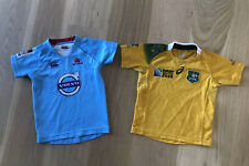 Rugby Australia Wallabies & NSW Waratahs Kid Boy/Girl Union Jerseys Shirts Sz 4
