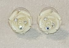 Cream Color Rose Flower Pierced Earrings Rhinestone accents