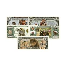 Set of 5 diff. African animals fantasy paper money