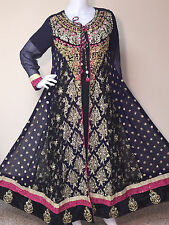 Pakistani Indian Designer Gown Salwar Kameez Embroidery Bridal Dress S