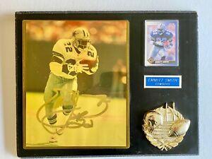 Dallas Cowboys Emmitt Smith Autograph 8x10 Photo & 1991 Score Card Framed