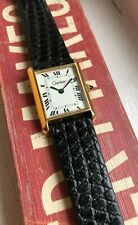Vintage Cartier Tank Roman Numeral Dial Manual Wind Gold Capped Watch
