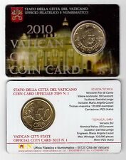 VATICAN - RARE 50 CENTS UNC COIN 2010 YEAR POPE BENEDICT XVI IN FOLDER