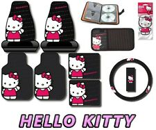 HELLO KITTY Waving 10pc Car Interior Set Seat Covers Floor Mats Wave