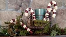 """4 NIB Rustic Primitive Hand Painted Paper Clay 6"""" CANDY CANE CHRISTMAS ORNAMENTS"""
