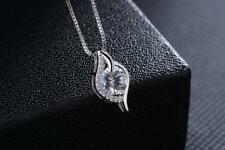 Micro-inlay 2.0 Cts CZ 925 Sterling Silver Rain Drop Pendant Necklace