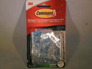 Command 3M Damage Free Hanging Outdoor Light Clips Clear NIP                  T9