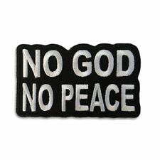 Embroidered No God No Peace Sew or Iron on Patch Biker Patch